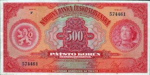 500 korun, vydaná v roce 1929, tiskárna ABNCo New York